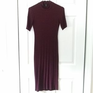 Forever21 Mock Neck Striped Burgundy Pencil Dress